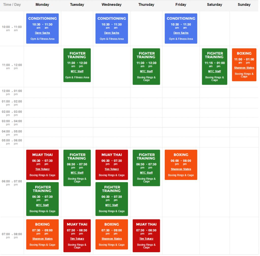 MTC Weekly Class Schedule